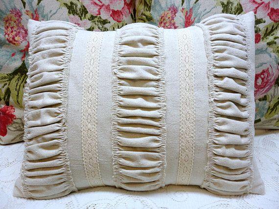 Paris Apartment Shabby Chic Pillow Nubby Oatmeal Cotton Grain