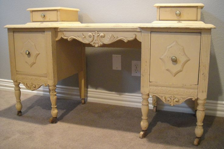 Furniture Bedroom Ivory Painted Wooden Make Up Table With Double Hutches and Carved Ornaments Antique Makeup Vanity