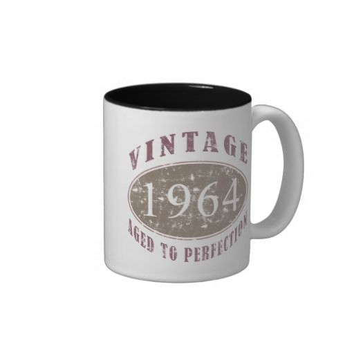 Vintage 1964 Birthday Mug, for men and women celebrating their 50th birthday.
