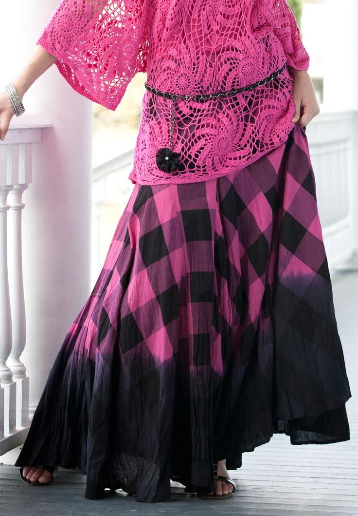 Plus Size Plaid Ombre Maxi Skirt by Denim 24/7