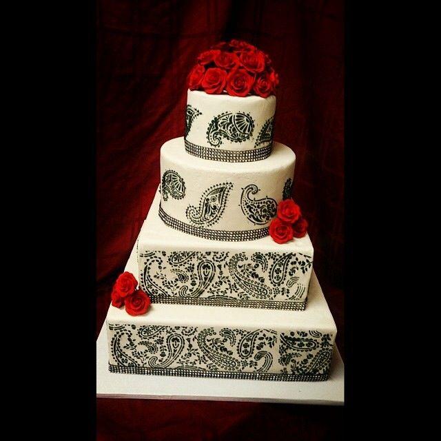 Black paisley wedding cake