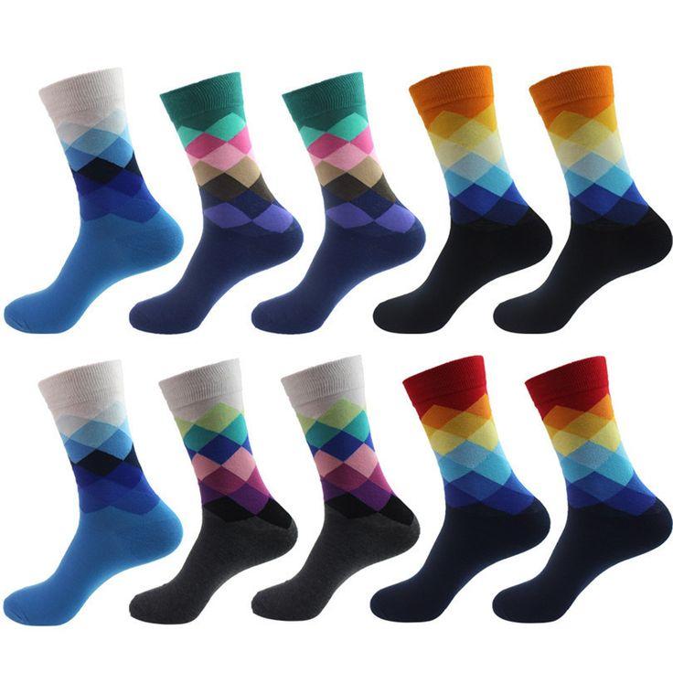 5pair/pack Men's socks British Style Plaid