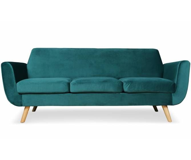 Canape Scandinave 3 Places Djurs Velours Vert Mobilier De Salon Meuble Deco Canape Scandinave 3 Places