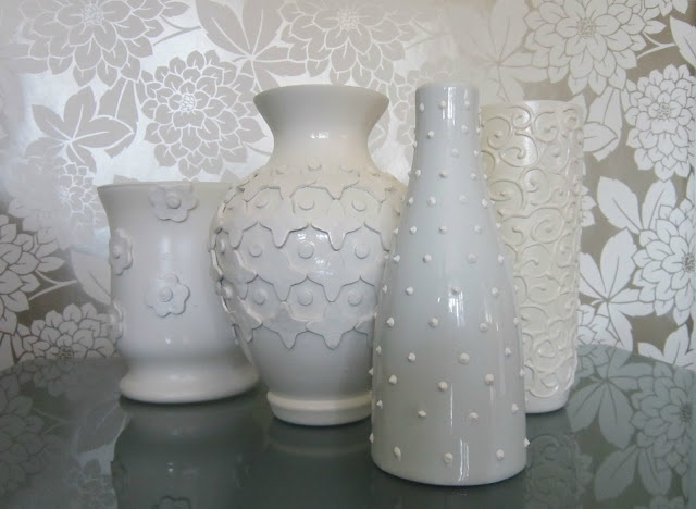 Jonathan Adler Inspired Vases -- made using dollar store vases, Crayola Air-Dry clay and puffy paint