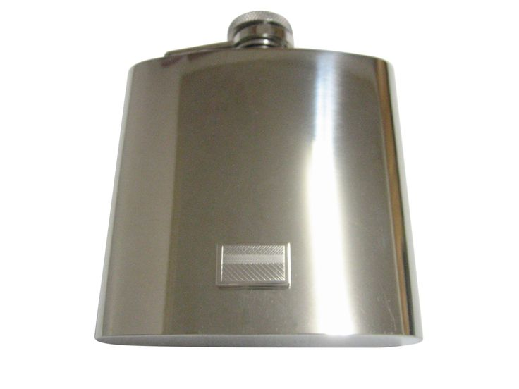 Silver Toned Etched Colombia Flag Pendant 6 Oz. Stainless Steel Flask