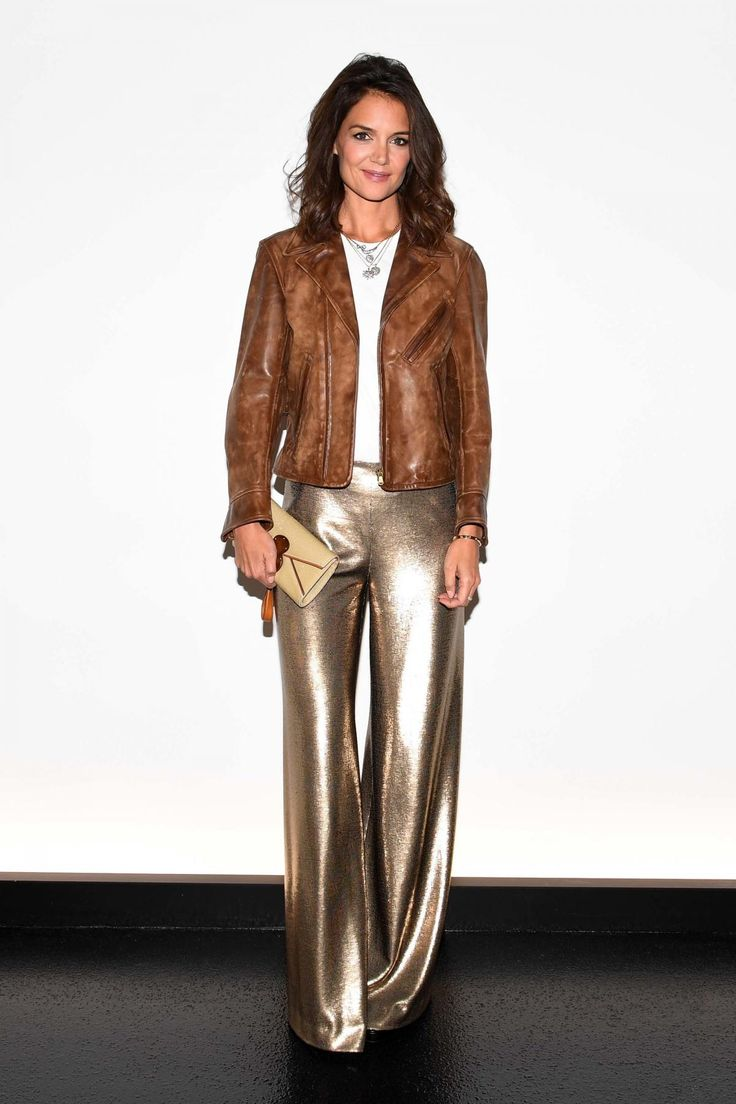 Katie Holmes wearing Polo Ralph Lauren Burnished Brown Leather Jacket