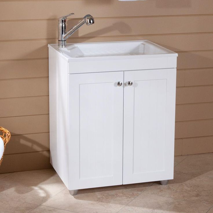 Glacier Bay 27 in. W Base Cabinet with ABS Sink in Country White-BC2732COM-WH at The Home Depot