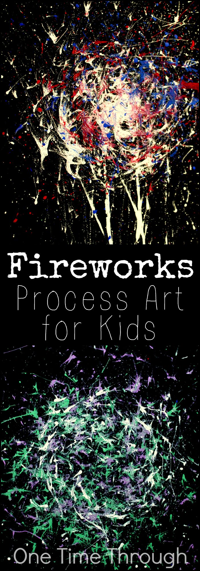 A fun open-ended art project inspired by fireworks for kids of all ages. Perfect for Canada Day, the Queen's Birthday, Memorial Day, July 4th, or Victoria Day! {One Time Through}