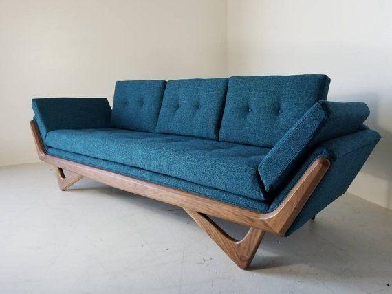 Mid Century Solid WalnutTrim Gondola Sofa- Adrian Pearsall style
