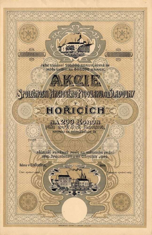 AZP4CZ0020 Akciový pivovar a sladovna v Hořicích / Bier-Actien-Brauhaus und Mälzerei in Horitz / akcie na jméno (Namensaktie), 200 K bez datumu ( 1917) / ohne Datum / Quelle securityrinting.org