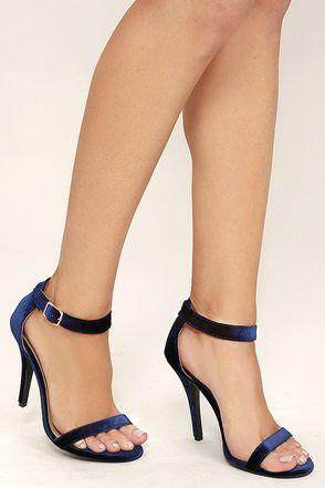 Cute Navy Heels - Ankle Strap Heels - Dress Sandals - $28.00