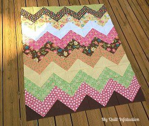 Easy Peasy Chevron Quilt Pattern | FaveQuilts.com; Includes chart for finished sizes of blocks using HSTs