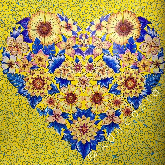 The Of A Magical Jungle Heart Yellowheart Blueandyellow Artoftheday Adultcoloringbook Adultcoloring Becreative Coloringbook Drawing