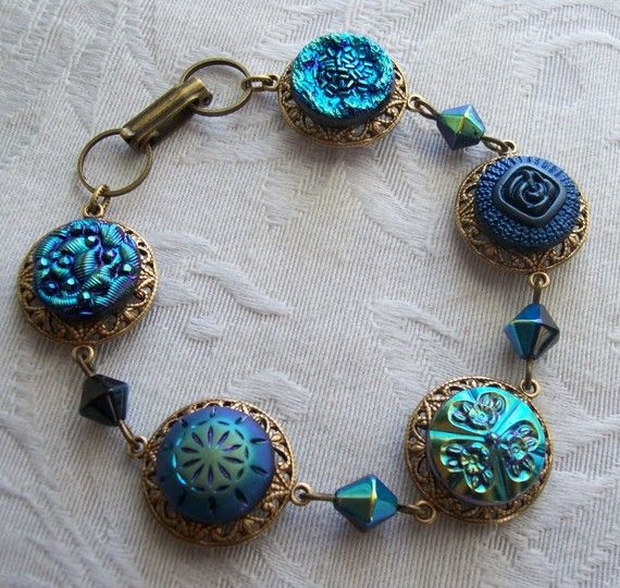 48 best Antique Button Jewelry Designs images on Pinterest Button