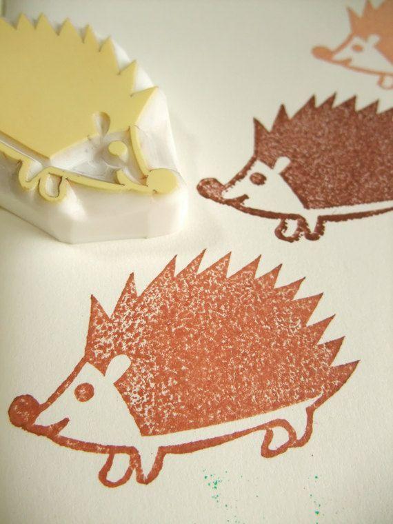 Hedgehog hand carved rubber stamp. baby hedgehog stamp. woodland animal stamp…