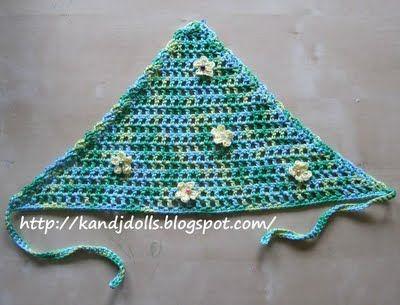 Free Summer Head Scarf Crochet Pattern ~ Amigurumi crochet patterns ~ K and J Dolls / K and J Publishing