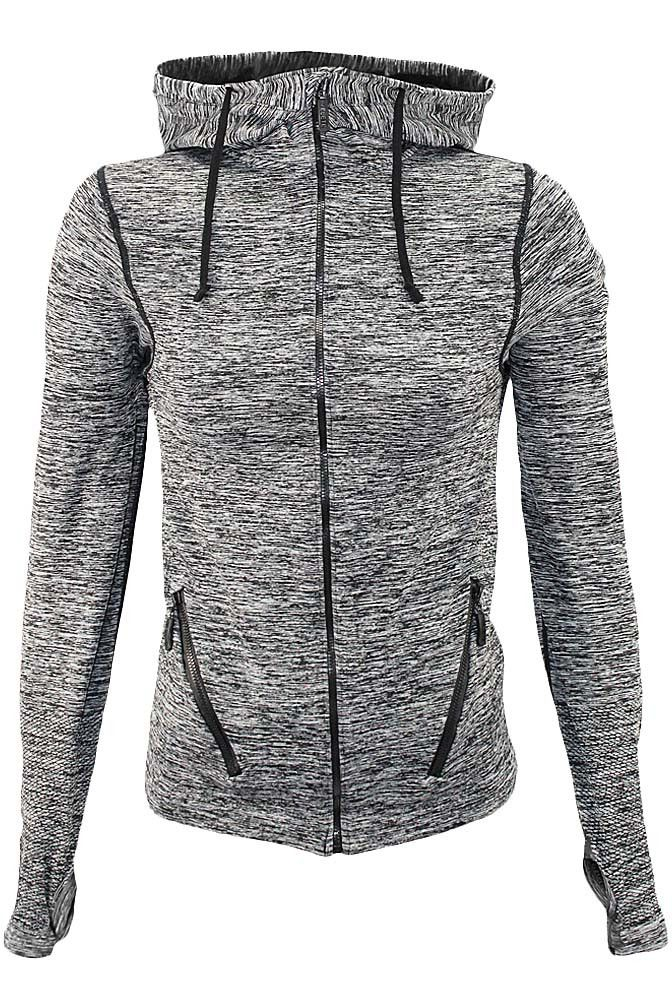 Hoodie in vibrant two-toned color and activity-friendly material that is ideal for working out or stepping out on a quick errand. From shoulder seam to bottom edge, Small/Medium is 23 inches & Medium/