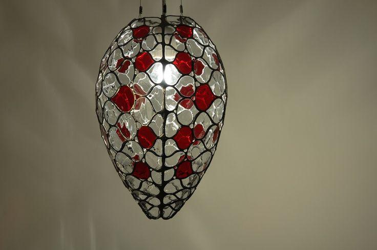 Stained glass lamp by Kordvitro. Tiffany 2.0, modern design.