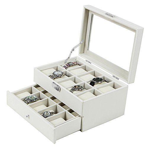 Songmics Lockable White Leather Watch Box Glass Top Watch Display Case Organizer UJWB201 Songmics-Watch box http://www.amazon.com/dp/B00R5M8A6C/ref=cm_sw_r_pi_dp_C-Ucvb109W055