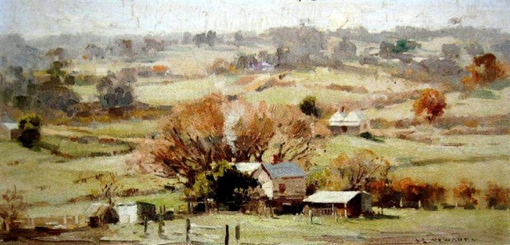 Country Cottages - Albert Ernest Newbury (1891-1941) Australia