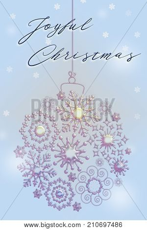 A Christmas illustration with text, snow and a glitter ornament