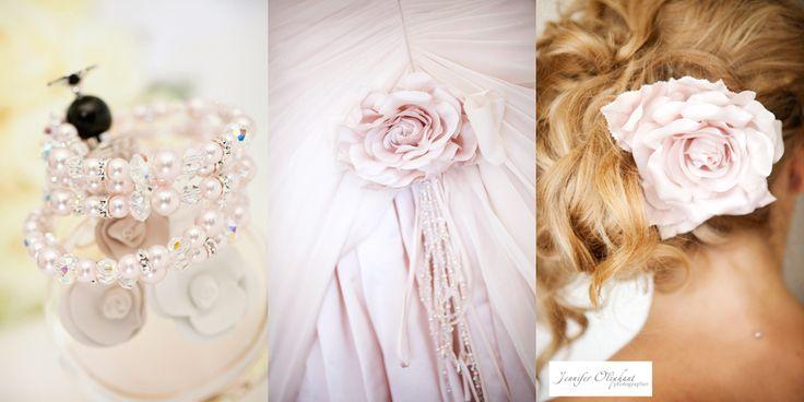 Elizabeth de Varga Swarovski crystal and pearl 'Buffy' bracelet, 'Sophia-Rose'  gown brooch flower and matching hair flower