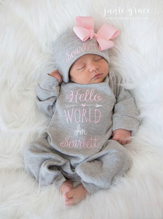 895cf3763 Baby Girl Coming Home Outfit Baby Girl Clothes Personalized Baby ...