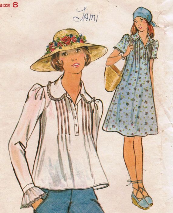 1970s Butterick 4174 Vintage Sewing Pattern Misses' Dress and Top Size 8 Bust…