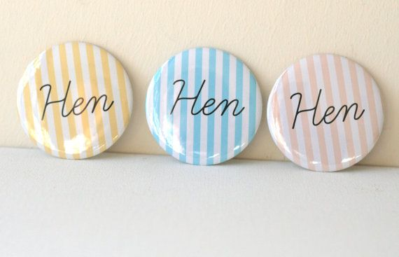 Stripe Pastel Personalised Hen Party Badges - Quirky, Individual & Handmade - Can be Personalised - Classy Alternative Bacherlorette