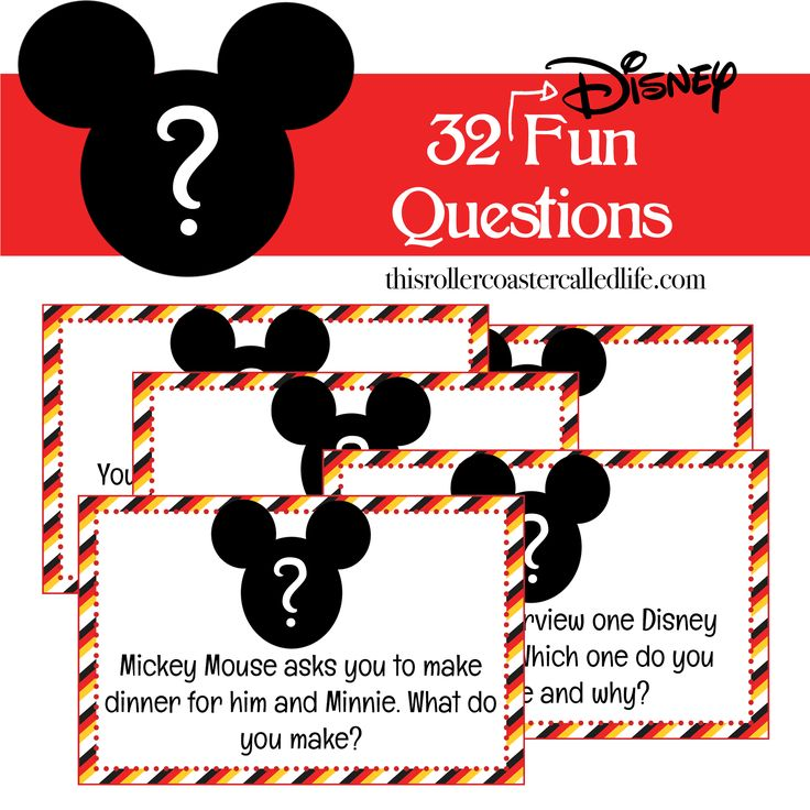 """This pack of 32 fun Disney """"What Would You Do?"""" style questions would be great as a family conversation starter on a road trip, or it would also make a great Fish Extender (FE) gift in a FE gift exchange."""