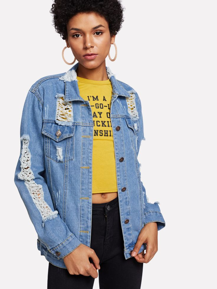 Shop Extreme Distressing Denim Jacket online. SheIn offers Extreme Distressing Denim Jacket & more to fit your fashionable needs.