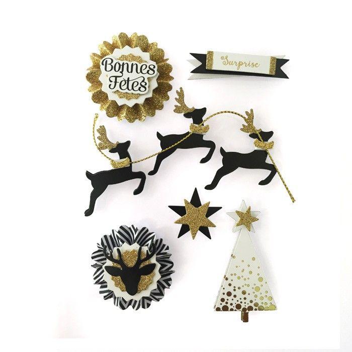 Planche de 6 stickers en 3D sur le thème de Noël et des rennes à coller sur tous vos projets de cartes de vœux de fin d'année - Scrapbooking - Youdoit