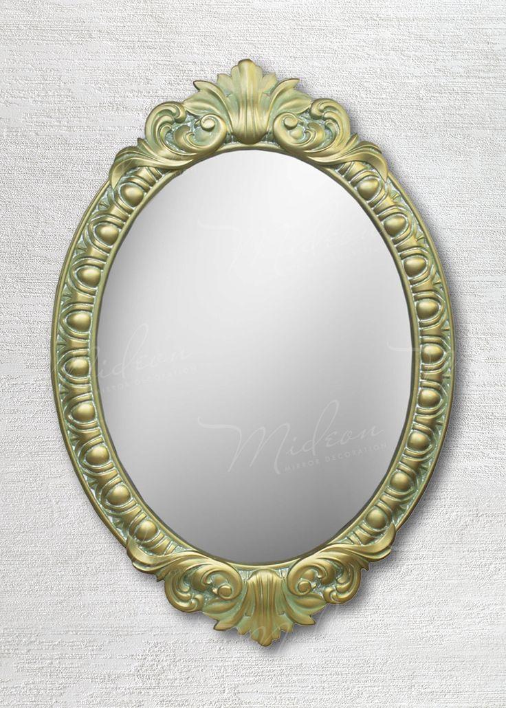 Овальное зеркало в раме «Веницианское» Олива Золото Патина