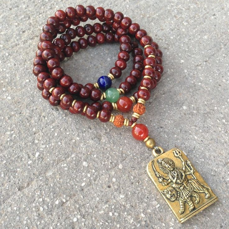 108 Bead Yoga Mala Convertible Wrap Bracelet Or Necklace, Made with Rosewood and Gemstone Marker Beads with Durga Pendant