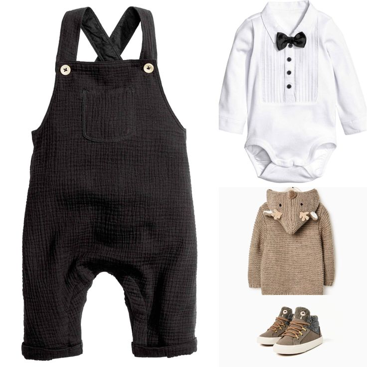 Baby boy party outfit. H&M dungarees and white bow-tie body. ZarA Rudolph cardigan and monster sneakers. 2016 fall collections.