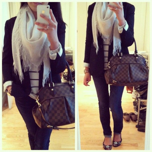 Theory blazer, Banana Republic sweater and jeans, Club Monaco scarf, Louis Vuitton Trevi PM, Tiffany & Co. jewelry, Forever 21 bow ring, rose gold ToyWatch, Gucci Marola flats.
