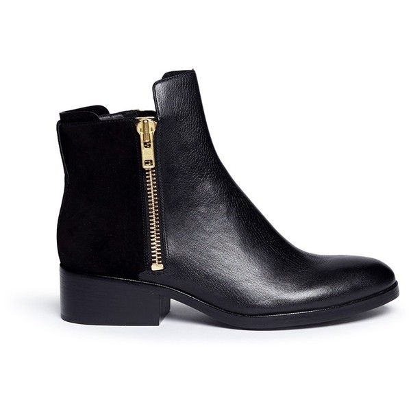 3.1 Phillip Lim Alexa leather and suede ankle boots found on Polyvore