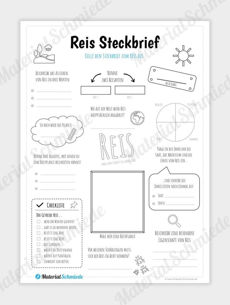 Steckbrief Reis in 2020 | Steckbrief, Arbeitsblätter