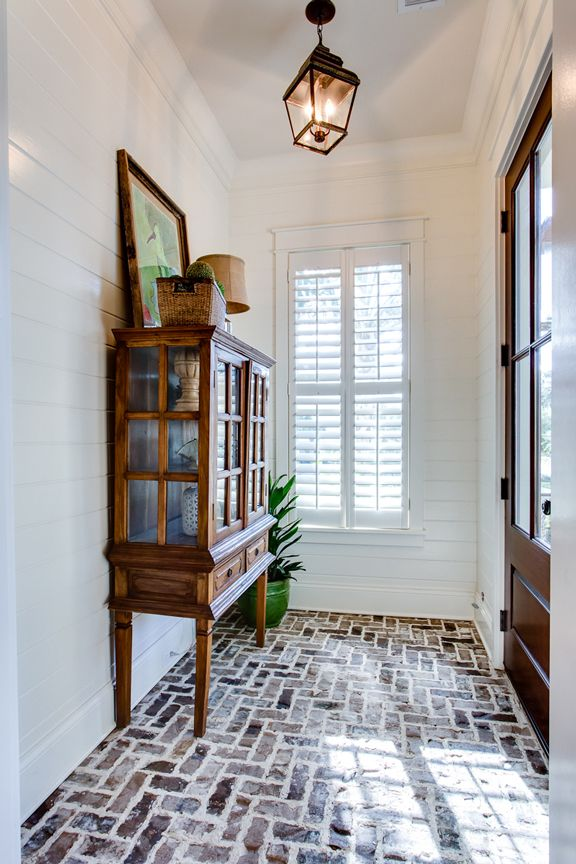brick floor + entryway lantern
