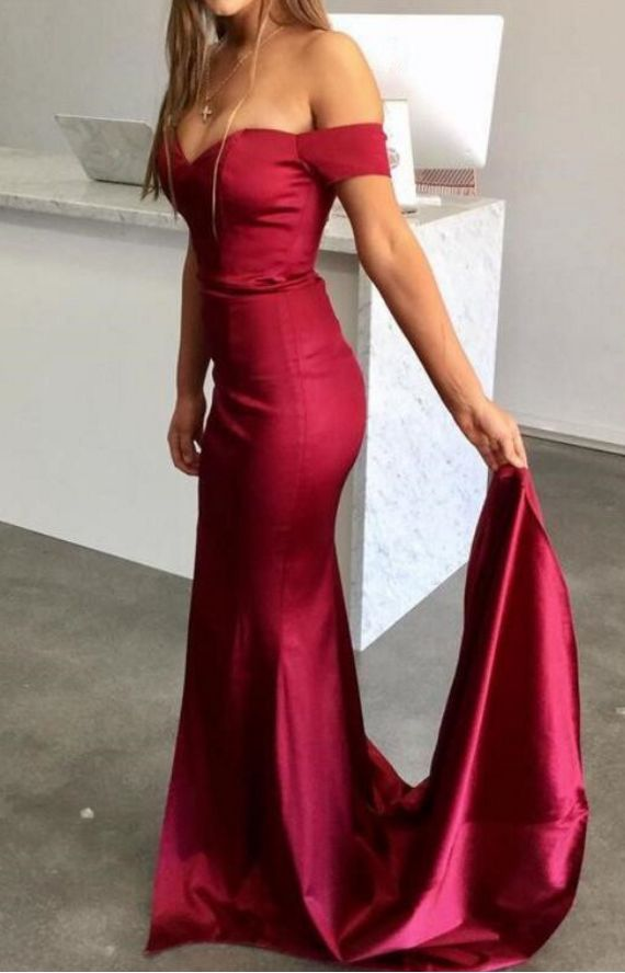 Dark Red Long Prom Dress, Off Shoulder Sexy