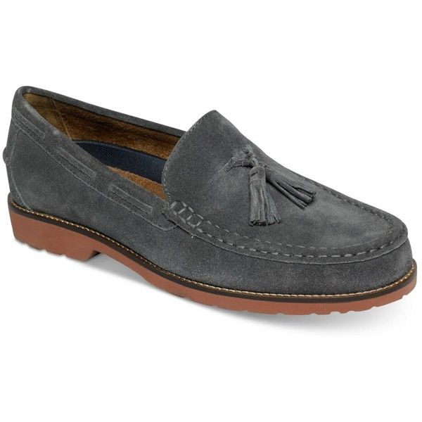 Rockport Men's Classicmove Hanging Loafers ($100) ❤ liked on Polyvore featuring men's fashion, men's shoes, men's loafers, castlerock, mens suede shoes, mens suede loafers, rockport mens shoes, mens tassel shoes and mens tassle loafers