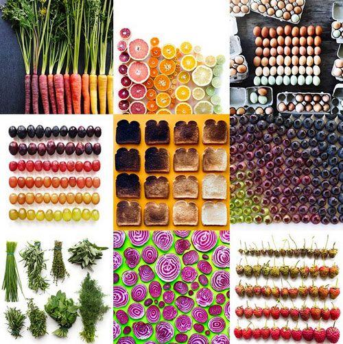 食べ物でグラデーションカラーを表現した美しいフォトシリーズ