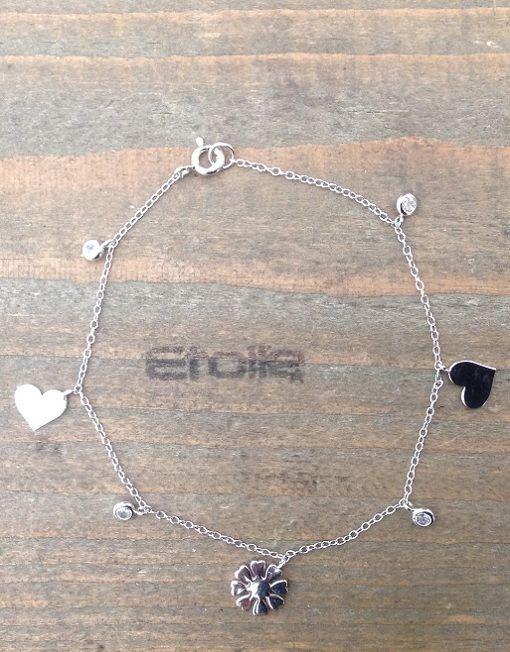 Bracciale in argento con ciondoli e #zirconi