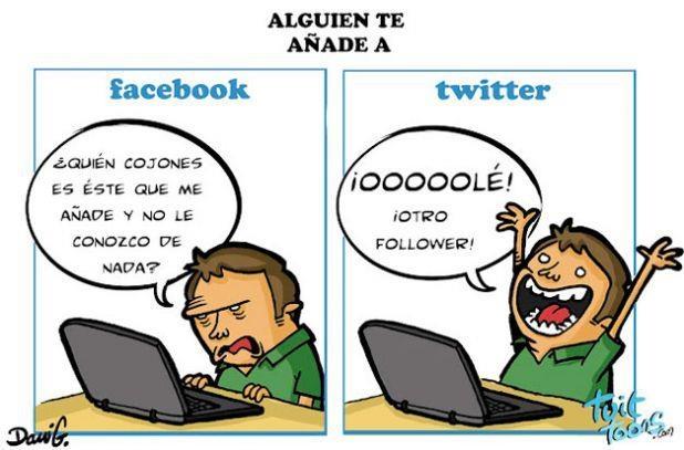 ¿Sabes cual es la diferencia entre el Facebook y el Twitter? Aquí tienes la respuesta! XD #humor #SocialMedia #RedesSociales #internet #Facebook #Twitter