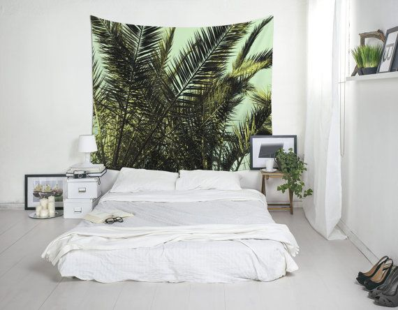 Tropical Tapestry, Palm Tree Art, Palm Leaf Tapestry, Tropical Wall Decor, Home Decoration. Photo by Francisco Aveledo.  ** This tapestry is also available in black and white ** https://www.etsy.com/listing/455145152  DETAILS Soft, thin and light. Easy to hang and maintain. This is a printed wall tapestry made of 100% polyester. Perfect for decorating walls or creating original atmospheres. Also they can be used on events or special occasions. SIZES / WEIGHT 51x60 Inches (130x152 cms) / 0.75…