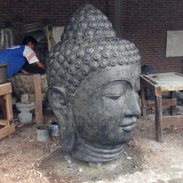Skulpturen - Skulptur Buddha Kopf Steinskulptur Feng Shui Figur - ein Designerstück von TAR-SHOP bei DaWanda