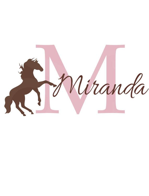 "Girl  Name Wall Decal - Initial and Name with Horse - Vinyl Wall Decal for Baby Nursery-Teen Bedroom Girl Teen 22""H x 32""W"