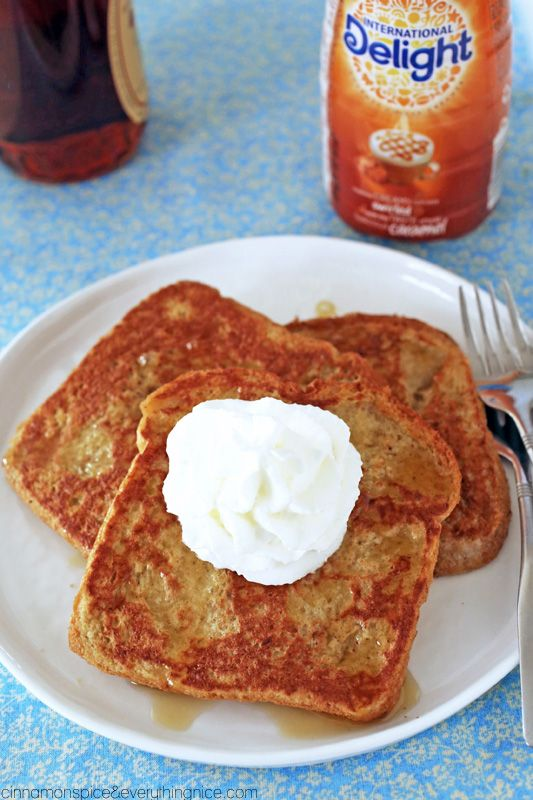 International Delight turns regular French toast into an extra creamy, flavorful experience. Start with your standard French toast ingredients, but use 1/3 cup International Delight Caramel Macchiato Creamer instead of milk and voila--breakfast reimagined and totally delightful!