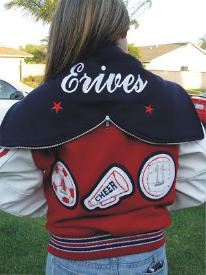 cheer letterman jackets | about CHEER CHEERLEADER Varsity JACKET Sports Chenille Letterman ...