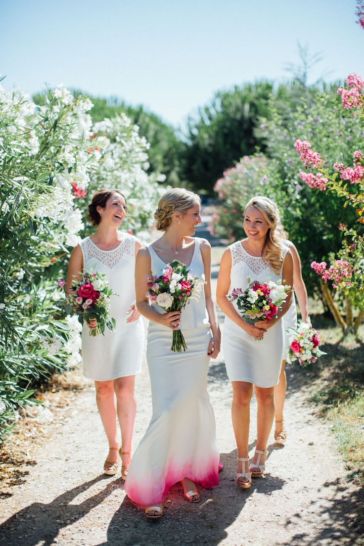 Bride with Dip dye pink wedding dress + bridemaids